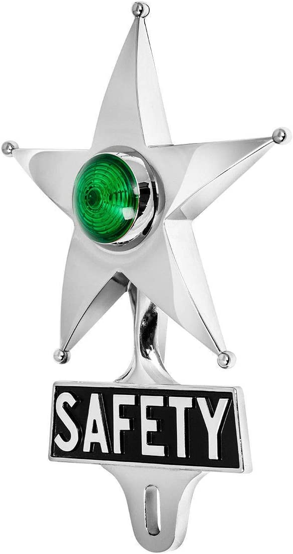 Chrome W//Amber LED Turn for Stop KNS Accessories Vintage Classic Car Safety Star License Plate Topper Marker Light