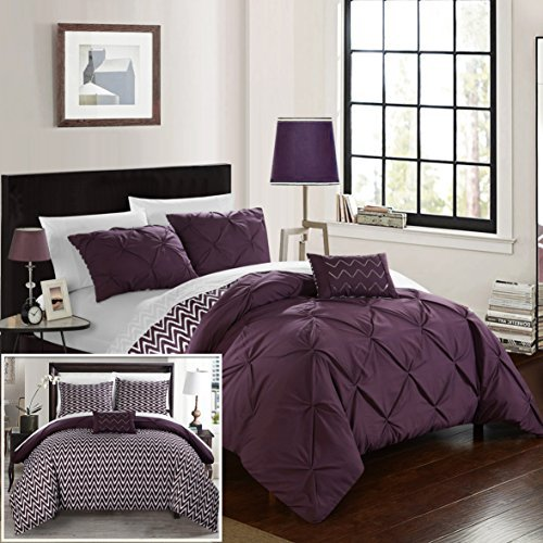 Chic Home CS2279-AN Jacky 4Piece Jacky Pinch Pleated, Reversible Chevron Print Ruffled & Pleated Complete King Comforter Set Purple Shams & Decorative Pillows Included,Purple,King ()
