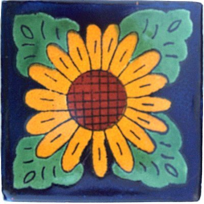 (Fine Crafts Imports 4.2x4.2 9 pcs Sunflower Talavera Mexican Tile)