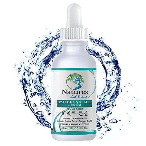 Organic Korean Skincare Hyaluronic Acid Serum for Face + Vitamin C Vitamin E - BEST Advanced Anti Aging formula Anti Wrinkle for whitening hydration all Natural Vegan Korean Beauty Natures Lab Brand