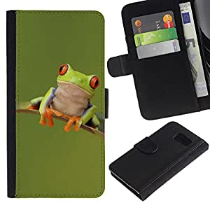 All Phone Most Case / Oferta Especial Cáscara Funda de cuero Monedero Cubierta de proteccion Caso / Wallet Case for Sony Xperia Z3 Compact // Frog Happy Cute Green Animal