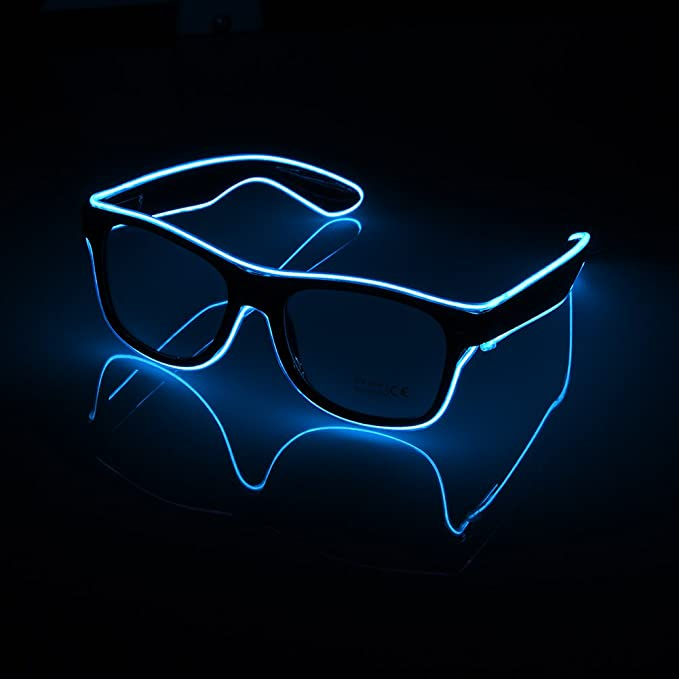 7cbb3ae933 Lerway Black Frame Neon El Wire LED Lighting Up Slotted Shutter Glasses  Eyeglasses Eyewear + Standard