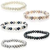 6-7mm Handpicked AAA+ Freshwater Cultured Pearls Bracelet mounted on Elastic String, 5 assorted colors White, Grey, Black, natural multicolor, Black/silver/White