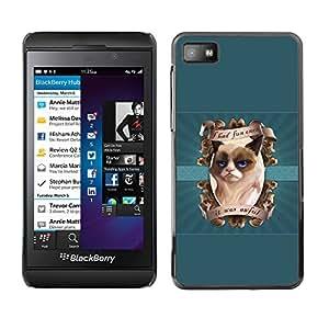 LECELL--Funda protectora / Cubierta / Piel For Blackberry Z10 -- Me divertí vez gruñón del gatito --