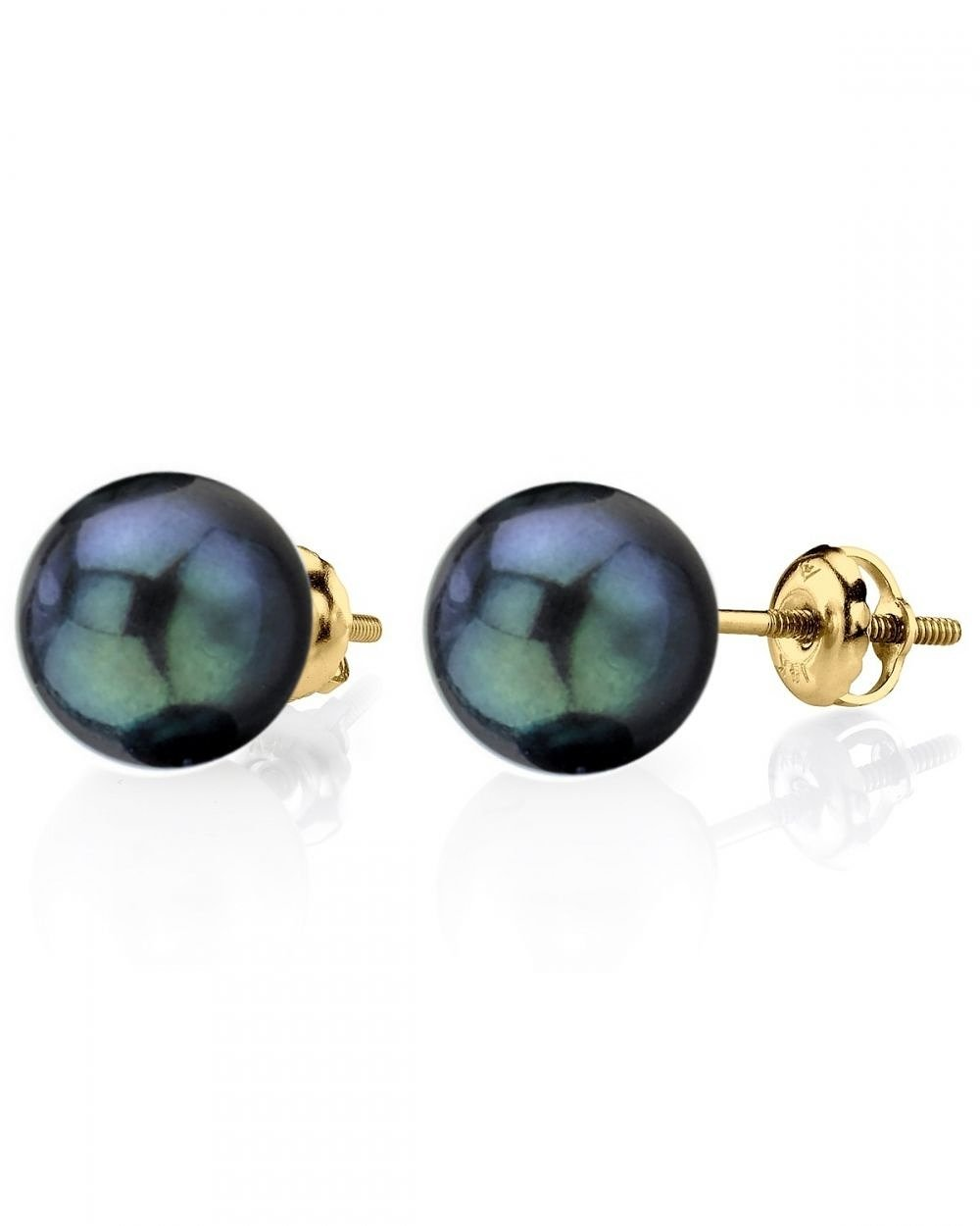 14K Gold Screwback 8.0-8.5mm Black Akoya Cultured Pearl Stud Earrings - AAA Quality