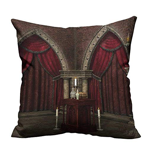 YouXianHome Household Pillowcase Mysterious Dark Room in Castle Ancient Pillars Candles Spiritual Atmosphere Perfect for Travel(Double-Sided Printing) 35x35 inch