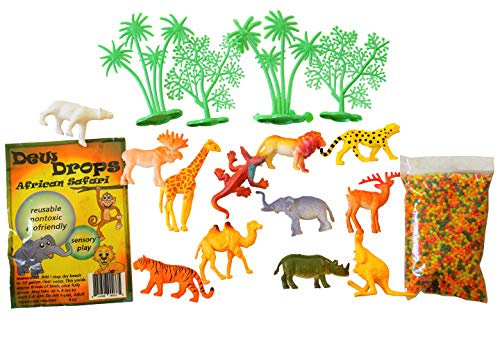 - SENSORY4U Water Beads Safari Theme Sensory Bin Kit - African Toy Animals Included