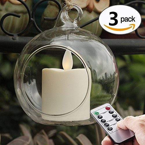 Set of 3 Hanging Outdoor Glass Candle Holder, 80mm diameter, Tea Light Holder Plant Terrarium with Flameless Moving Wick Votive Candles & Timer  ,Remote ,Hanging Decorative Candle Lanters