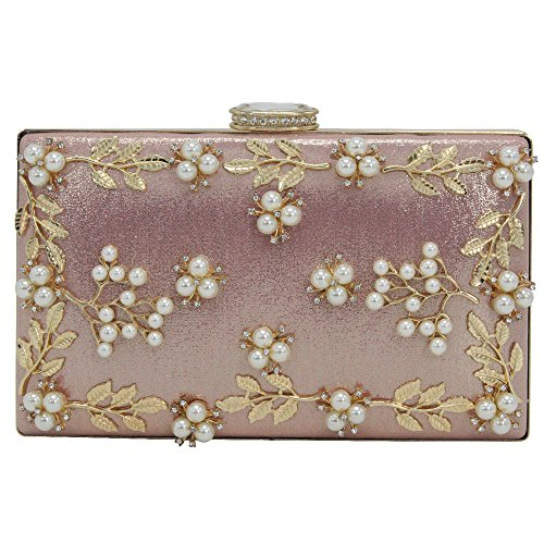 Purse Flower Party Wedding Handbag Beaded Clutches Wallets Wocharm Small Women's Pink q8xwE0nTI