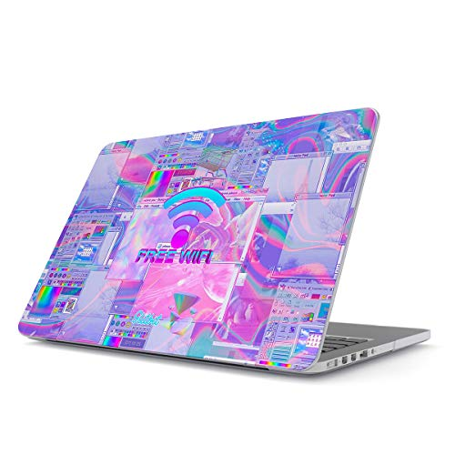 Glitbit Hard Case Cover Compatible with MacBook Pro 13 Inch Case Release 2016-2018, Model: A1989 / A1706 / A1708 with or Without Touch Bar WiFi Vaporwave Oldschool Purple Aesthetic Computer Glitch