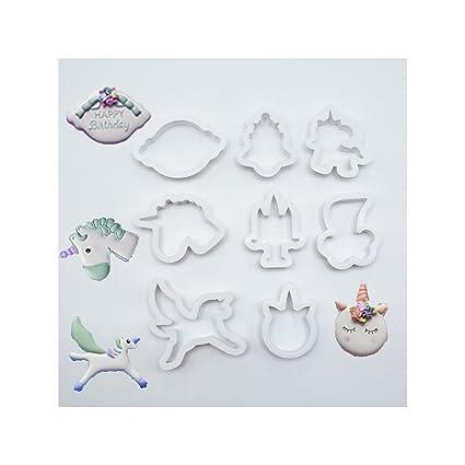 WDILO - Juego de moldes para galletas, 8 piezas, forma de unicornio, molde