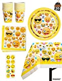 Emoji Birthday Party Decorations 81 Piece Emoji Birthday Party Supplies - Including Custom Plates, Cups, Napkins, and Tablecloth, Serves 20