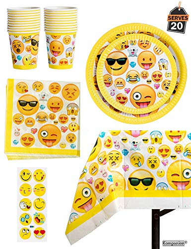 81 Piece Emoji Birthday Party Supplies - Including Custom Plates, Cups, Napkins, and Tablecloth, Serves -