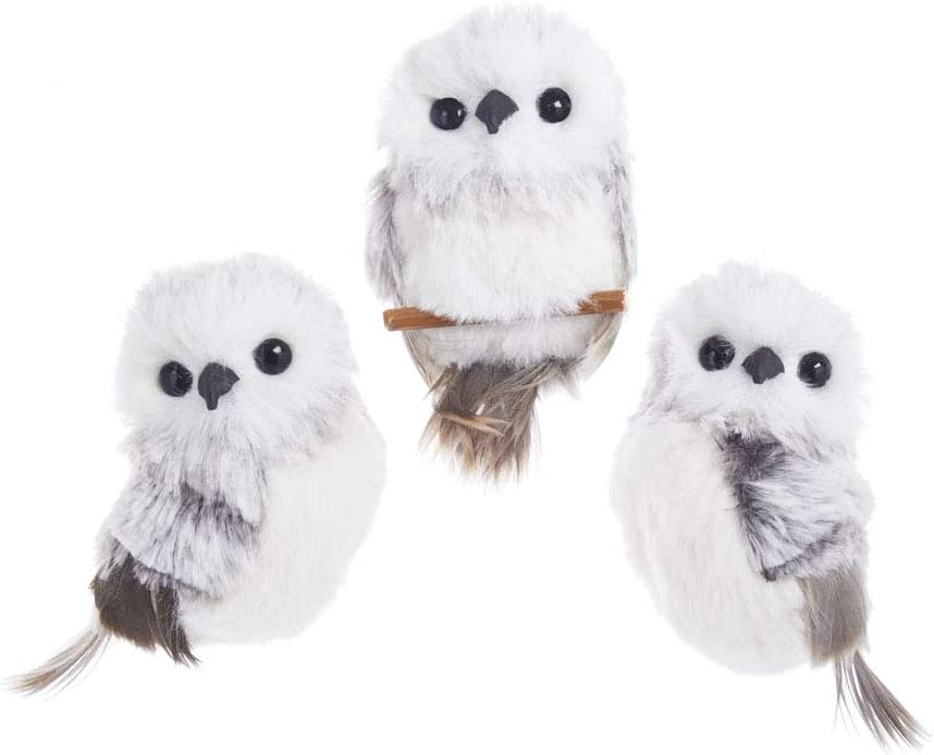 The Bridge Collection Fluffy Owl Ornaments, Set of 3 Assorted (Grey)
