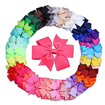 "SOOCAN 40pcs Kids Baby Girls 3"" Grosgrain Ribbon Alligator Clip Ribbon 40 Colors Boutique Hair Bows Clips"