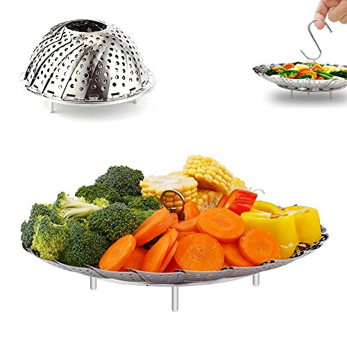 Vegetable Steamer Basket, OUREIDA Stainless Steel Folding Steamer Insert for Veggie Fish Seafood Egg Cooking, Expandable to Fit Various Size Pot (5.5