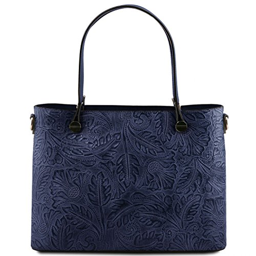 With Grey Shopping Atena Dark Tuscany Bag Floral Leather Blue Pattern IpqFw4g