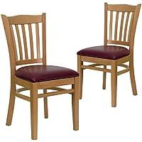 Flash Furniture 2 Pk. HERCULES Series Vertical Slat Back Natural Wood Restaurant Chair - Burgundy Vinyl Seat