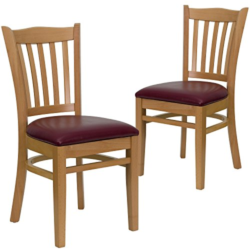 2 Pk. HERCULES Series Vertical Slat Back Natural Wood Restaurant Chair - Burgundy Vinyl Seat