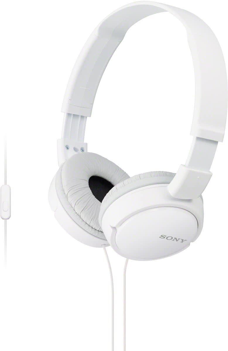 Sony MDRZX110NAW.CE7 - Auricular Plegable (cancelación de Ruido, autonomía de 80 Horas, micrófono Incorporado, Control Remoto para Smartphones), Blanco
