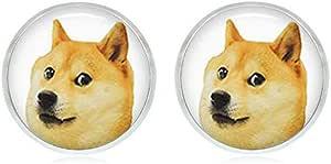 Doge Meme Earrings - Handmade Hypoallergenic Silver Stud Earrings - Surgical Steel Hypoallergenic Earrings - Nickel Free