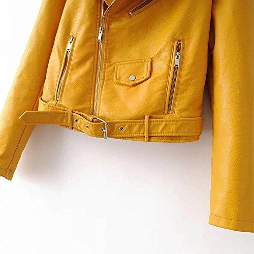 Elegante Chaqueta Corto Cuero Amarillo Cremallera Con Mangas Largas PUqwASHy