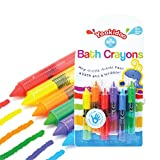 Eutuxia Baby Bath Toys. Bathtub Colorful Crayons for Kids & Toddlers. Draw & Scribble on the Tub. Bath Time Fun Entertainment for Children. Washable & Retractable. Safe, Non-Toxic & BPA Free. [6 PK]