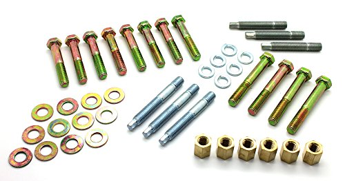 Big Block Exhaust Manifold Bolt - LatchWell PRO-9701001 SBC Small Block Chevy Ram Horn Exhaust Manifold Complete Bolt & Stud Kit