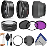 Lens Accessory Kit for CANON PowerShot SX50 HS - Includes: 0.43x Wide Angle and 2.2x Telephoto Lenses + Adapter Ring + Vivitar Filter Kit (UV, CPL, FLD) + Macro Close-Up Set + Collapsible Soft Rubber Lens Hood + Center Pinch Lens Cap + Deluxe Cleaning Kit + MagicFiber Microfiber Cloth
