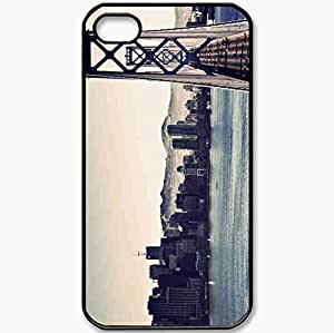 Protective Case Back Cover For iPhone 4 4S Case Home Building River Bridge Black