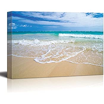 "wall26 - Canvas Prints Wall Art - Romantic Scene of Sea Waves on the Tropical Hawaii Beach | Modern Wall Decor/ Home Decoration Stretched Gallery Canvas Wrap Giclee Print. Ready to Hang - 16"" x 24"""
