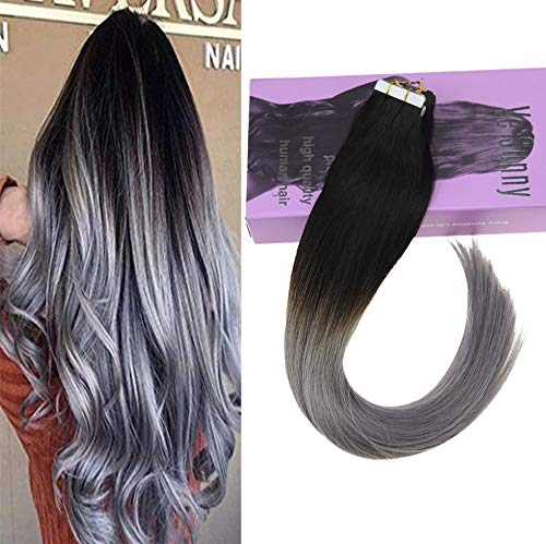 VeSunny 14inch Natural Black Fading to Blue Grey Ombre Tape in Hair Extensions Human Hair 20Pcs 50G Seamless Tape in Ombre Hair -