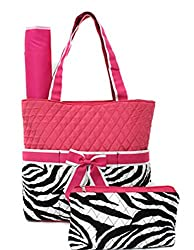 3 Piece Set Quilted Zebra Print Diaper Bag w/ Changing Pad & Cosmetic Purse (Green)