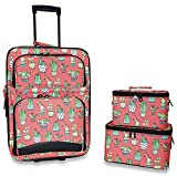 Ever Moda 3-Piece Carry On Luggage Set with Wheels for Travel Pink Cactus