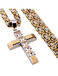 6mm Men's Silver Gold Byzantine Chain Stainless Steel Cross Pendant Necklace,20-34""