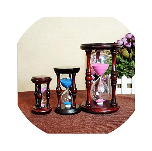(Wooden Sandglass Sand Hourglass Mahogany Hall Cabinet Room Timer Clock Xmas Birthday Home Decoration,small)