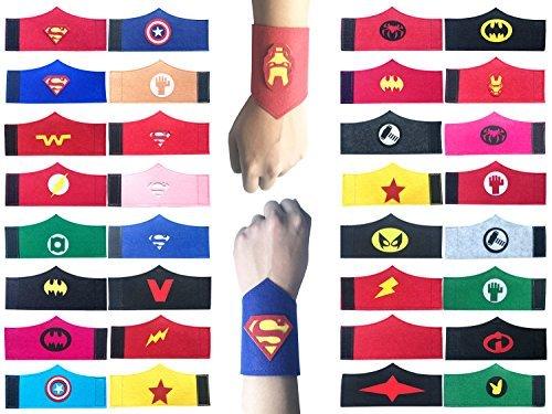 Yibaoo 32 Pack Superhero Bracelet for Kids Boys & Girls Superhero Birthday Party Supplies Favors,Superhero Felt Bangle,Wristband Accessories Wrist Strap ()