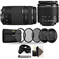 Canon EF-S 18-55mm III f/3.5-5.6 Camera Lens with EF 75-300mm Lens with UV CPL and ND8 Lens Filters + Lens Caps and Tulip Lens Hood for Canon T5 T6 T6i T5i T7i T6s