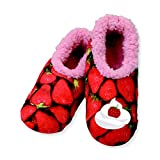 Snoozies Womens Fun With Food Cozy Sherpa Non Skid Slipper Socks - Strawberries, Large