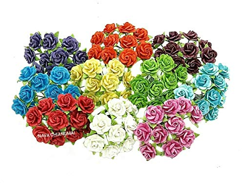 NAVA CHIANGMAI 100 pcs Mini Rose Mixed Color 10 mm Artificial Mulberry Paper Flower Scrapbooking Wedding Doll House Supplies Card