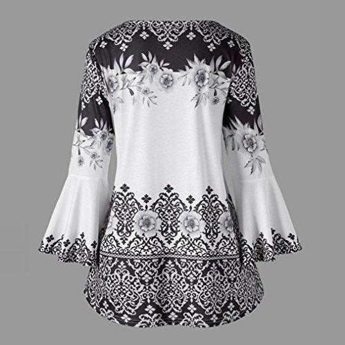 e8ec8b5b0f5b2 vermers Fashion Plus Size Clothing for Women Womens Printed Flare Sleeve  Tops Blouses Keyhole T-
