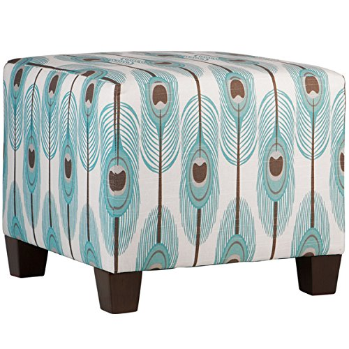 [Skyline Furniture Solid Cotton and Pine Feathers Spirit Slub Square Ottoman] (Skyline Furniture Leather Tufted Bed)