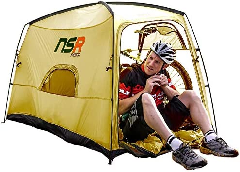 NSR Bicycle Camping Tent, Anti-Theft Design Secures and Stores Bike Inside Tent Road Cycle Olive