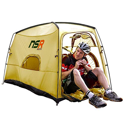 NSR Bicycle Camping Tent, Anti-Theft Design Secures and Stores Bike Inside Tent [Mountain Bike/Olive]