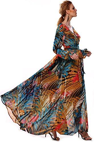 ACEVOG Maxi Vestido Floral de Boho de Cóctel Fiesta y Playa para Mujer Azul