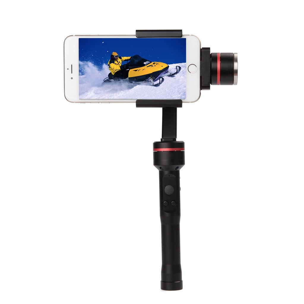 GIZEE Handheld Multi-function 3-Axis Gimbal Stabilizer Facial Recognization Horizontal & Vertical Shooting App Bluetooth One Button Control Suitable for Smartphone Sport DV (Black)