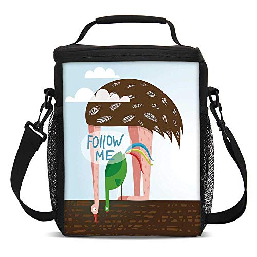 Quirky Decor Fashionable Lunch Bag,Ostrich and Rooster Eating on Roof Birds with Long Necks and Follow Me Label Decorative for Travel Picnic,One size]()