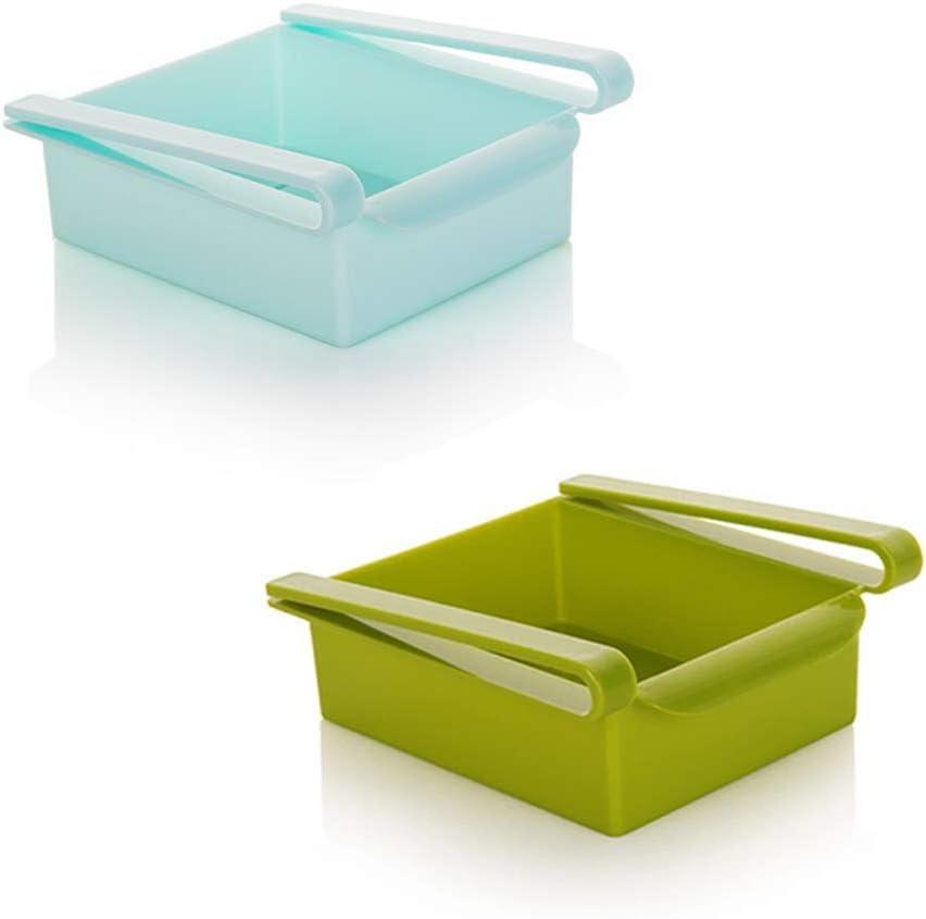 "LZYMSZ 2 Pcs Fridge Drawer Organizer, Multifunction Refrigerator Pull-Out Bin, Home Kitchen Retractable Drawer Type Refrigerator Storage Box Fit for Fridge Shelf Under 0.5""/ 1.4cm (Blue + Green)"