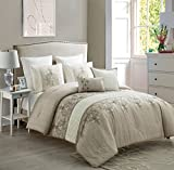 new york bed in a bag - Pintick and Embroidered 7 Piece Comforter Set by VCNY Home, King, Taupe