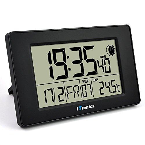 iTronics Digitale Funkwanduhr Tischuhr mit Temperaturanzeige & Countdown-Timer, Schwarz